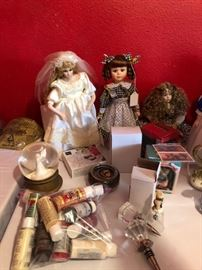 collector dolls and art supplies