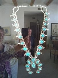 Sterling Silver Vintage Turquoise Squash Blossom Necklace