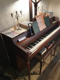 Vintage Aeoleon Console CABLE Console Piano With Bench