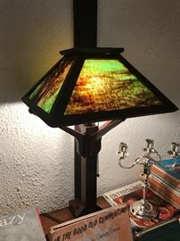 Home Made Mission Lamp With Stained Glass