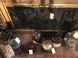 Assorted Railroad Lanterns And Crocks