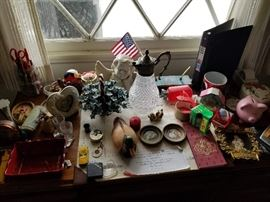 collectibles and small desk