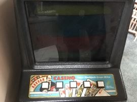1980 casino poker machine. Works well. Takes quarters