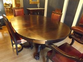 Split Pedestal Claw Feet Dining Room Table Seats 12
