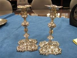 Pair Mid 19c English Silverplated Candlesticks