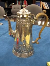 1719 George I Sterling Silver Coffee Pot  with Later Floral and Foliate Chasing