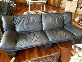 Danish Modern Style Leather Distressed Leather Sofa