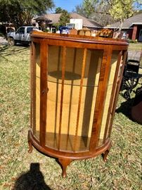 English curved glass china curio cabinet