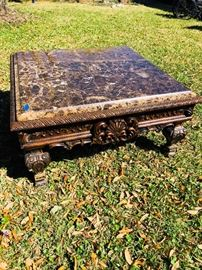 Ornate carved marble top coffee table