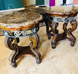 Matching Marble Top Ornately Carved tables