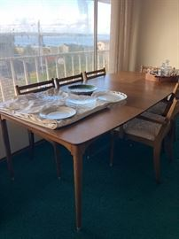 Mid century ca 1950 dining set with six chairs