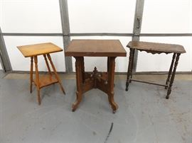 3 Antique Wood Side Tables