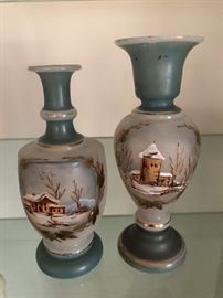Bristol hand painted vases