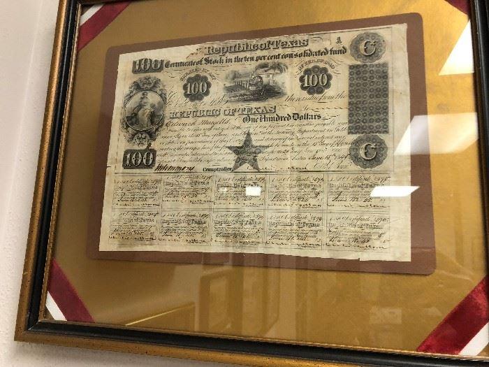 Republic of Texas $100 stock certificate