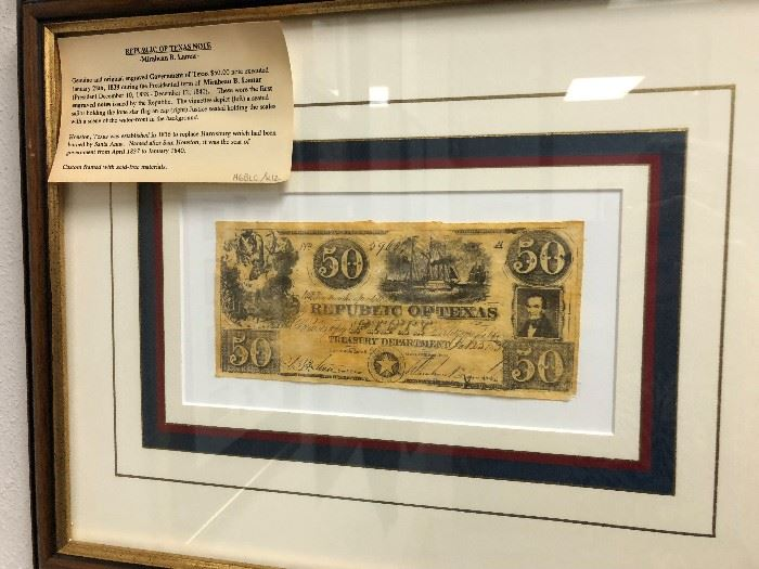 Republic of Texas 50 bank note