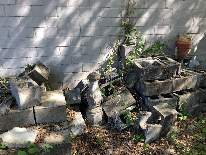 Cinder blocks and other items