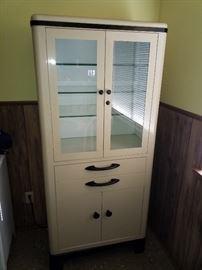 Beautiful, mint condition antique metal doctors cabinet