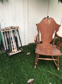 Vintage rocker and  croquet set