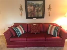 Vintage Cranberry Upholstered Sofa ~ In Great Condition ~ Mid Century