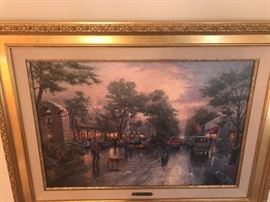 "Thomas Kinkade ""Carmel Sunset On Ocean Avenue"" Printed Painting With Paperwork"