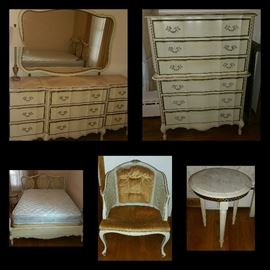 French Provincial Bedroom Suite, Marble Inlaid Top Dresser with Mirror, Chest of Drawers, Bed, Chair, Marble Top Table