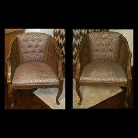 Vintage Cane Barrel Chairs (Two of Three Available)