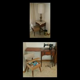 Free-Westinghouse Sewing Machine in Cabinet, Sewing Chair with Storage