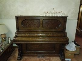 Tiger wood antique piano