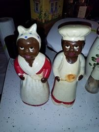 Antique, large salt and pepper