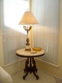 Marble Top Mahogany Table - Great Lamp