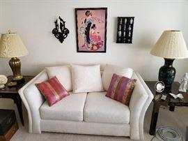 Drexel tables excellent condition sofas, Asian artwork