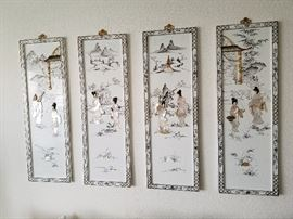 4 Panel Asian wall Art with Mother of pearl