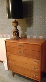 Midcentury modern dresser with awesome lamp