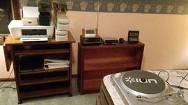 Printer, turn table, clocks, bookcase