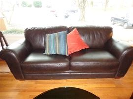 Leather Lay-Z-Boy two-seat sofa.