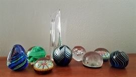 Glass paperweights and a Baccarat crystal vase