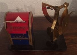 VINTAGE MAIL BOX STAMP DISPENSER AND SCALE