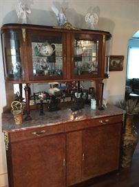 Antique marble top server and hutch