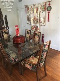 Henredon dining room table and chairs.