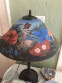 Painted -signed - numbered table lamp