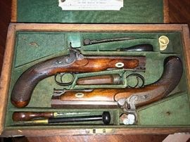 Complete Set of Henry Tatham Dueling Pistols - c 1849 - including original receipt