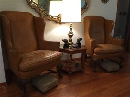 Chippendale leather wing back chairs by Heritage