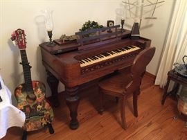Civil War Era Rosewood square baby grand piano with ivory keys