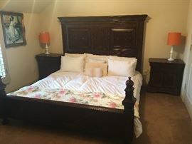 King Wood bed frame with box springs