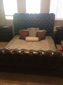 King Leather Bed frame with box springs
