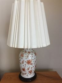 Several Asian themed porcelain lamps