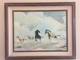 Running horses oil print