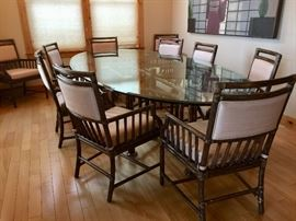 Large glass top dining table w/10 chairs - table is 10' long