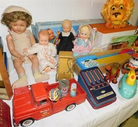 1930s Shirley Temple doll. Buddy L Zoo truck. Vintage Little Bo Peep.  Larry the Lion by Mattel talks and  growls! Barbie Dream Boat.