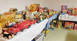 The basement is completely full of vintage toys and games
